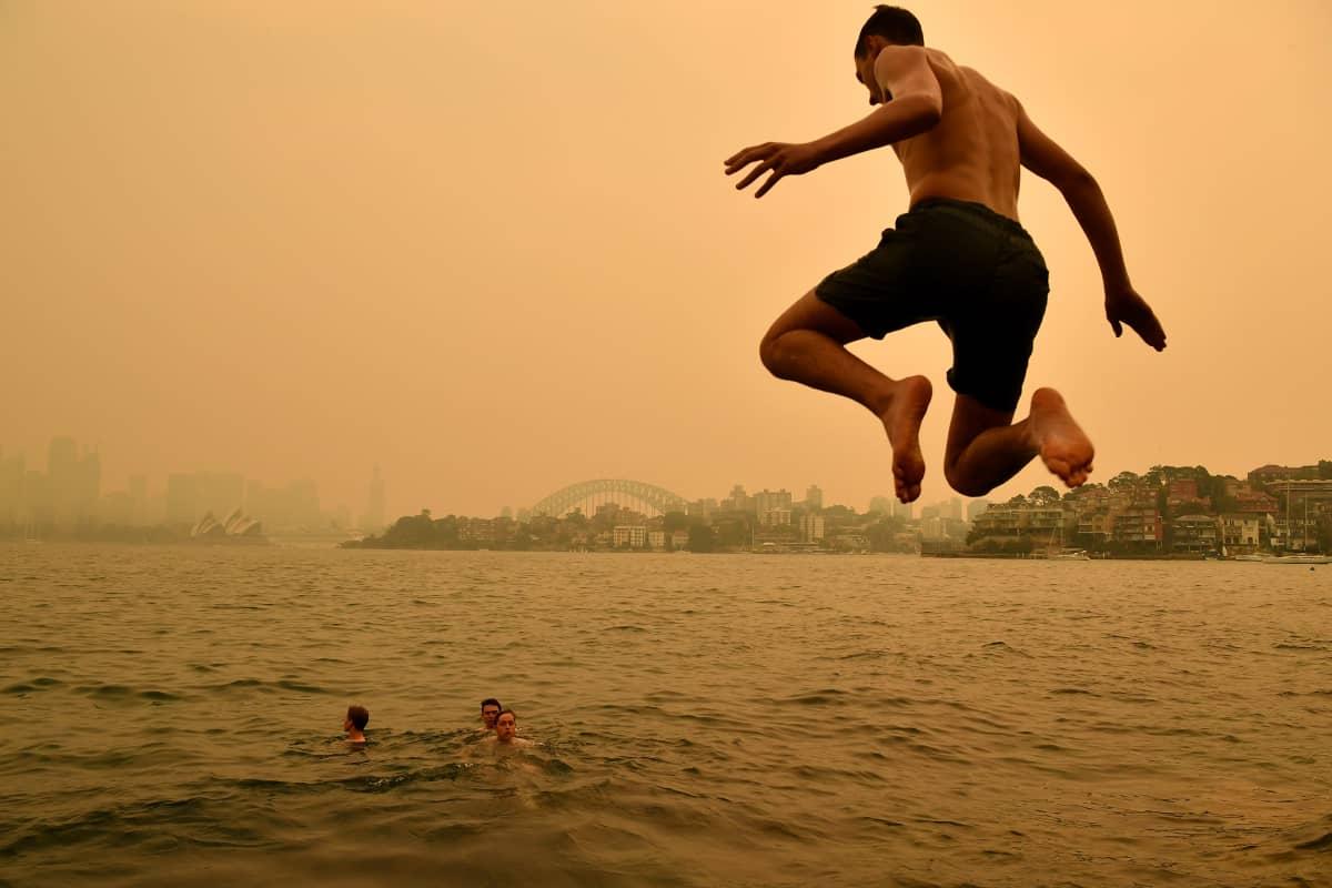 Uimari hyppää veteen Sydneyssä Australiassa.