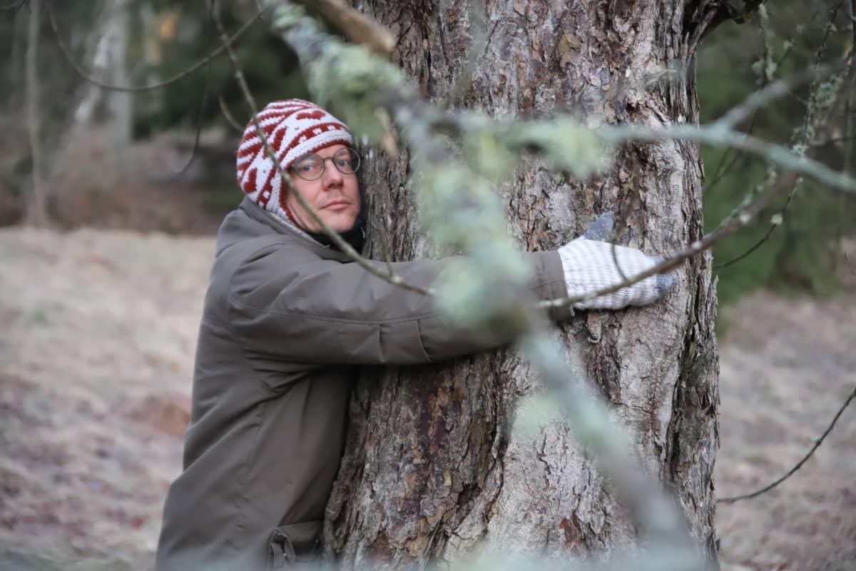 Mies halaa puuta.