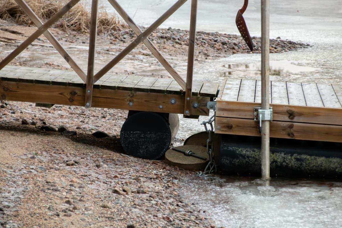 Laituri kuivalla maalla Äitsaaressa.