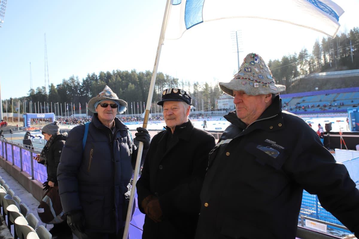 Pertti Kojo, Pentti Kojo ja Reijo Nurminen Salapausselän kisoissa 29.2.2020.