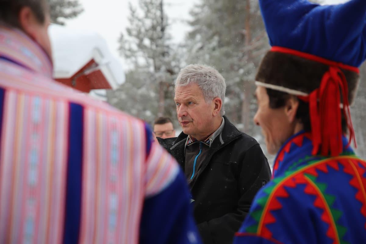 Sauli Niinistö vieraili Lemmenjoella 6.3.2020. Ohjelmaan kuului tunturimatka.