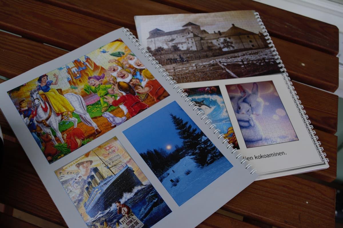 Kirsi Saarella on valokuvakirjassa kuvia tehdyistä palapeleissä. Kuvissa muun muassa Turun linna ja Titanic.