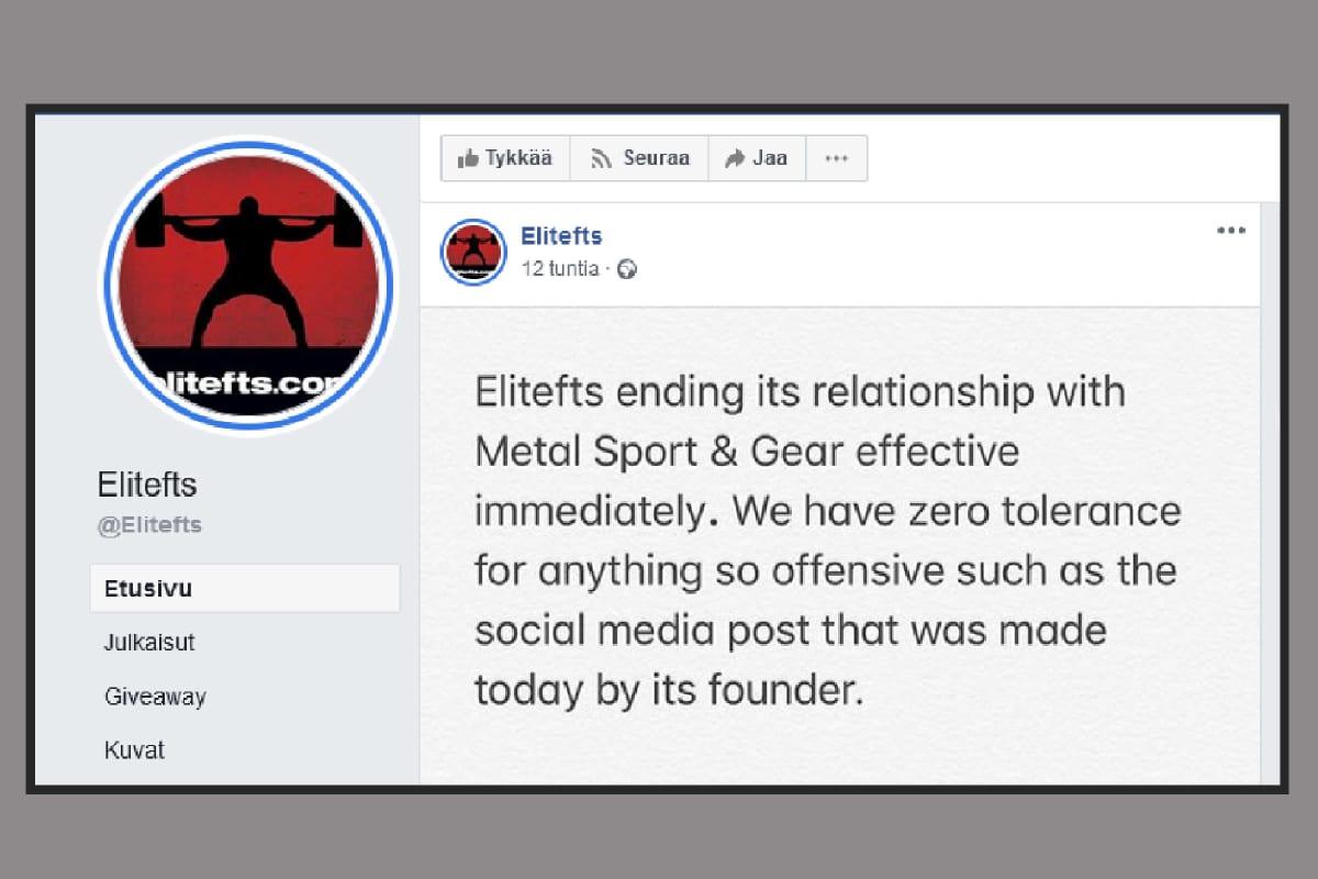 Elitefts:n Facebook-julkaisu.