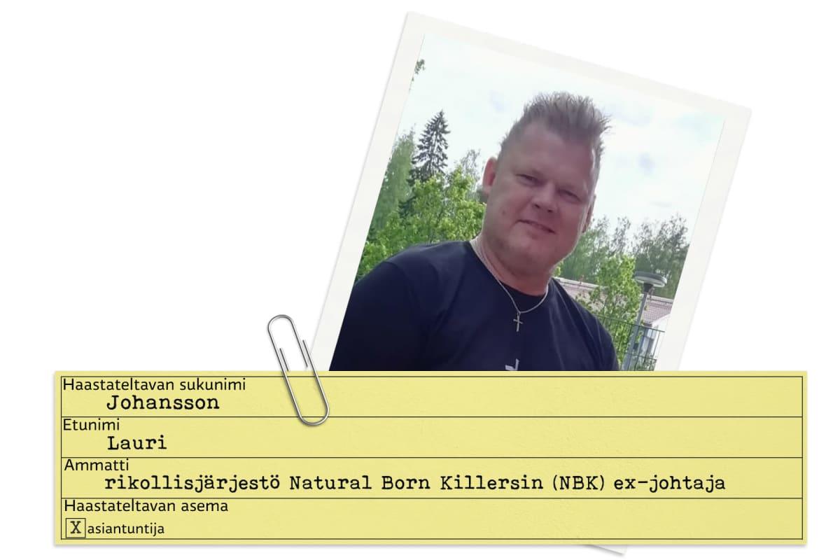 Lauri Johanssonista tehty tietokortti.