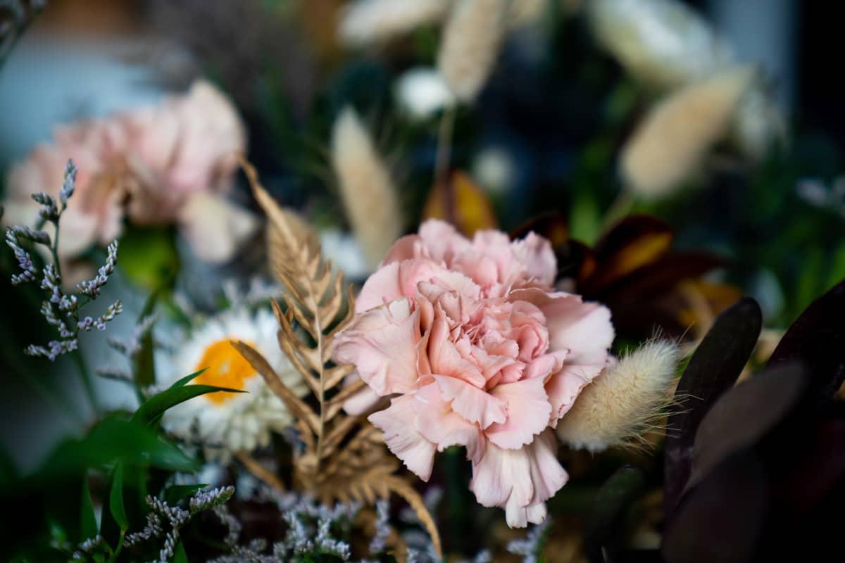 Lähikuva kukkakimpusta Joonas Pesosen keittiön pöydällä.