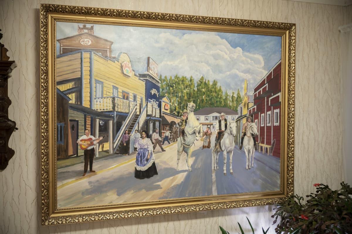 Lännenkylästä maalattu taulu Rainer Rothin kotona