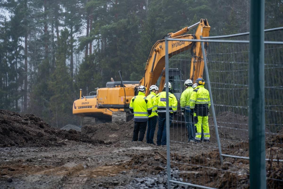 Kiipula-opiston rakennustyömaa Nokialla.