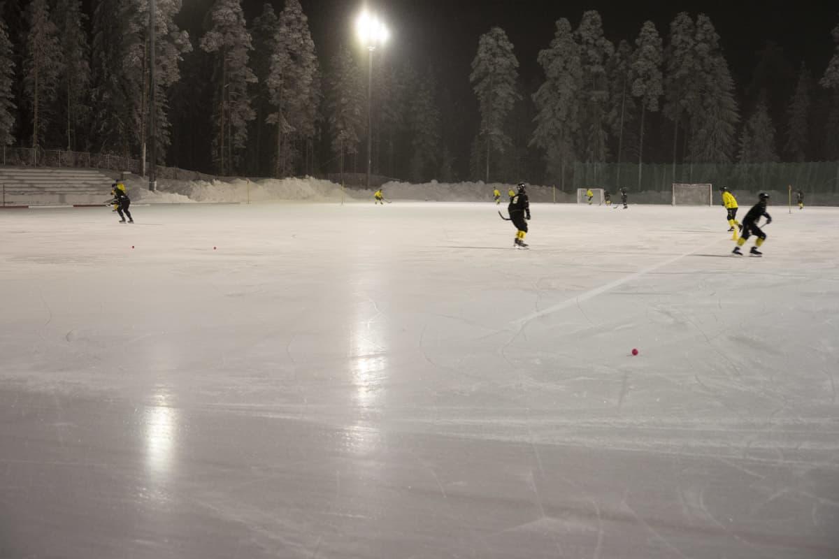 WP-35:n pelaajia harjoituksissa Varkauden Kämärin kentällä.