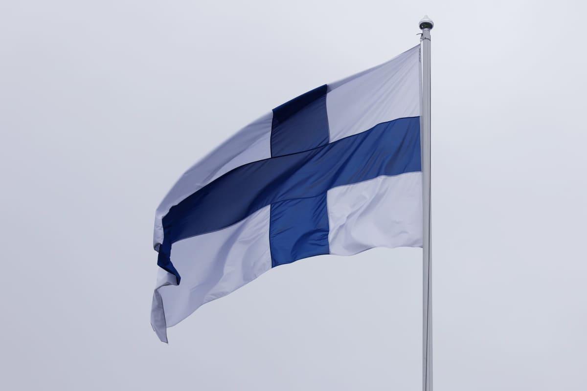 Suomen lippu liehuu Pappilansalmen koulun pihalla.