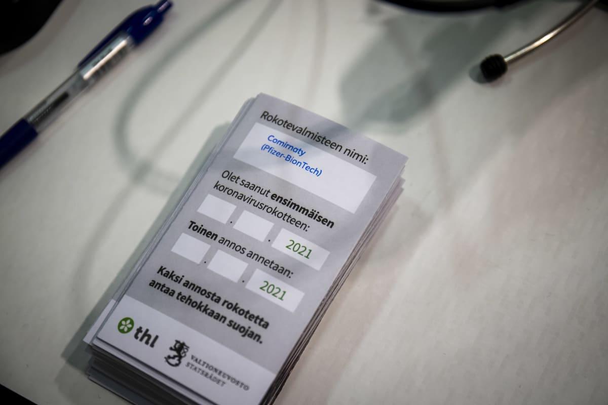 Koronarokote kortti Comirnaty (Pfizer-BionTech) rokotteesta