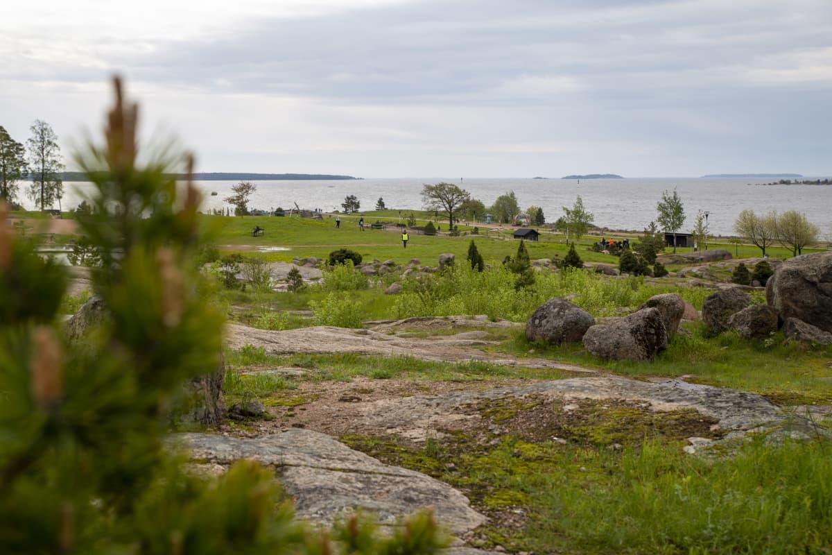 Katariinan meripuisto kallioilta katsottuna.