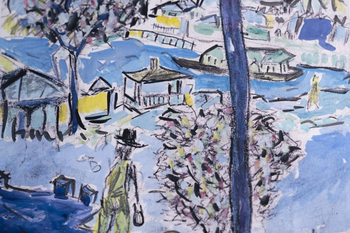 Yksityiskohta Bob Dylanin teoksesta Fisherman.