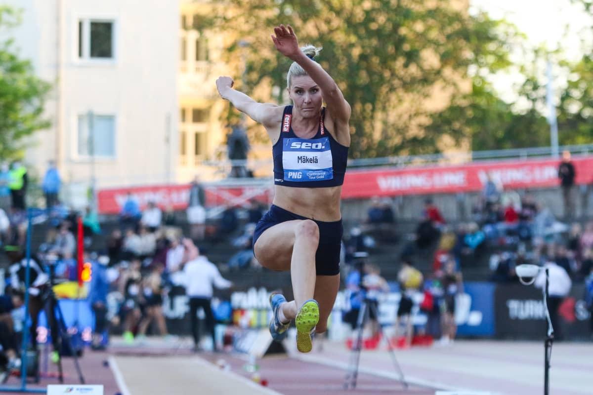 Kristiina Mäkelä oli Turun loikkakisan kolmas tuloksella 14,26.