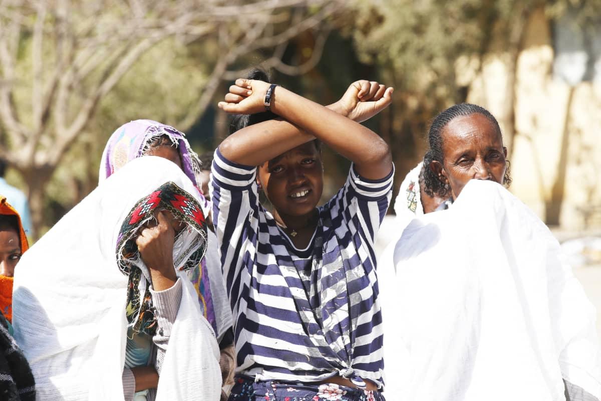 Tigrayn asukkaat protestoivat Etiopian hallitusta vastaan Mekelen kaupungissa 8. maaliskuuta.
