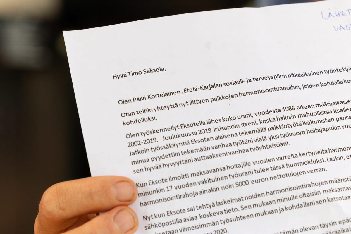 Päivi Kortelaisen lähettämä sähköposti Eksoten toimitusjohtaja Timo Sakselalle.