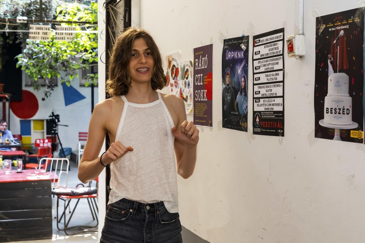 Budapest Pride 2021-kulkueeseen osallistuva Kristof Ferencz.