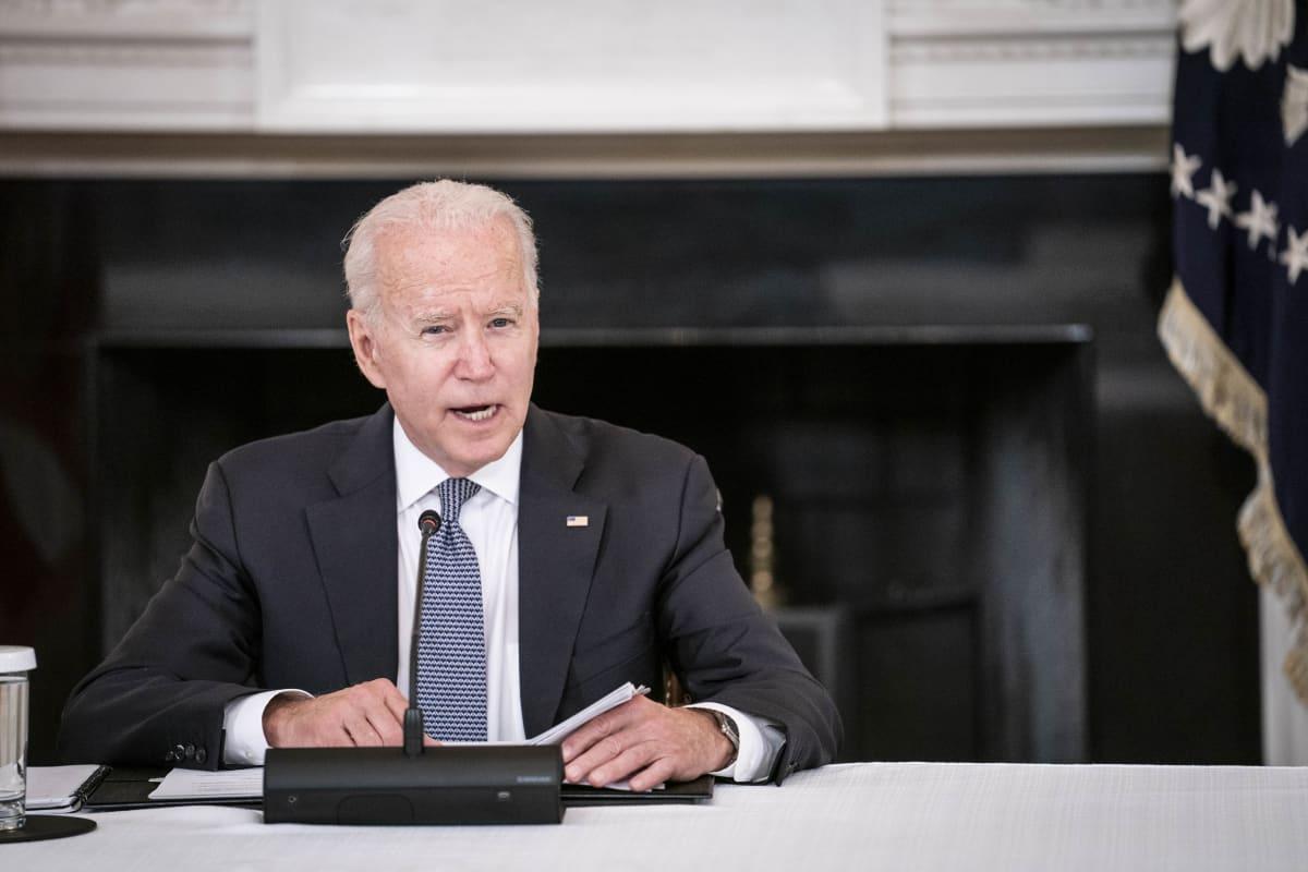 Yhdysvaltain presidentti Joe Biden lehdistötilaisuudessa.