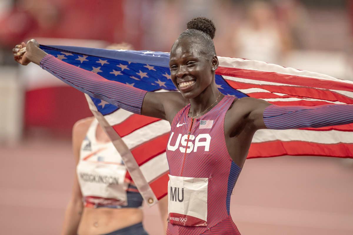Athing Mu voitti 800 metrin olympiakultaa Tokiossa.