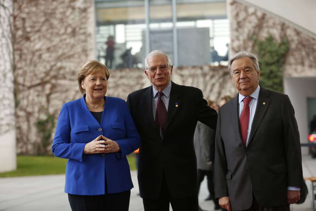 Angela Merkel, Josep Borrelli Fontelles ja António Guterres.