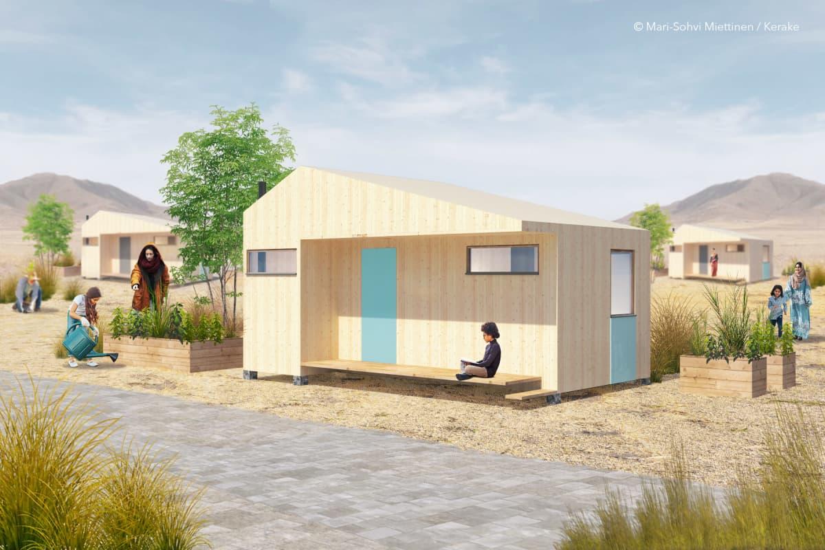 Havainnekuva puurakennuksesta jälleenrakennusalueella.