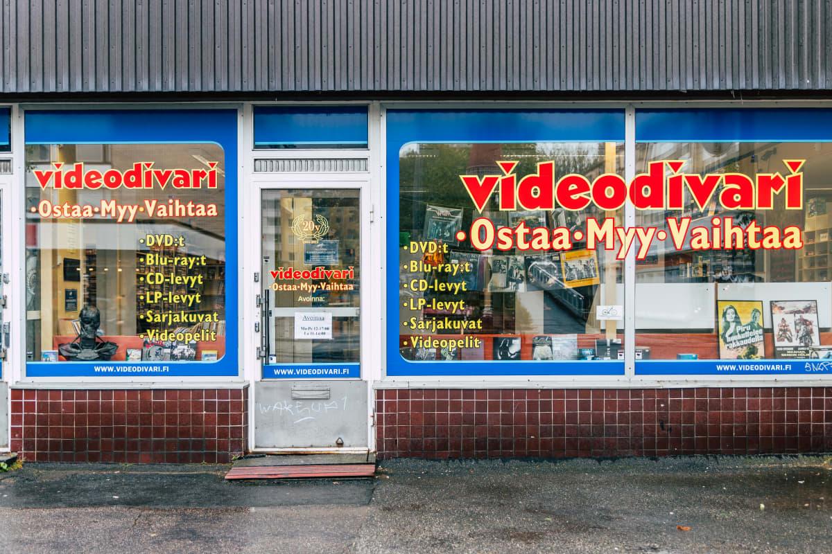 Videodivarin näyteikkuna jossa teksti: Videodivari, Ostaa, Myy, VAihtaa.