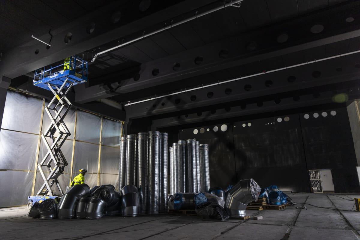 Liikunta-salia rakennetaan uuden taidelukio Lumitin työmaalla Kuopiossa