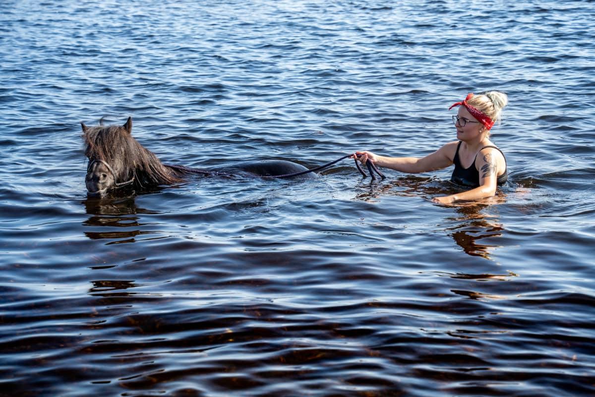 Ellen Saarelainen uittamassa Ciny-ponia.