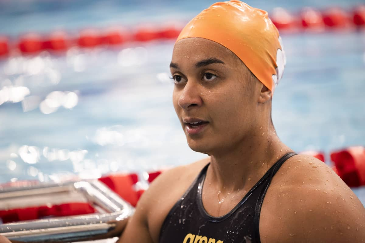 Mimosa Jallow uinnin SM-kilpailuissa Kuopiossa 17. kesäkuuta 2021.
