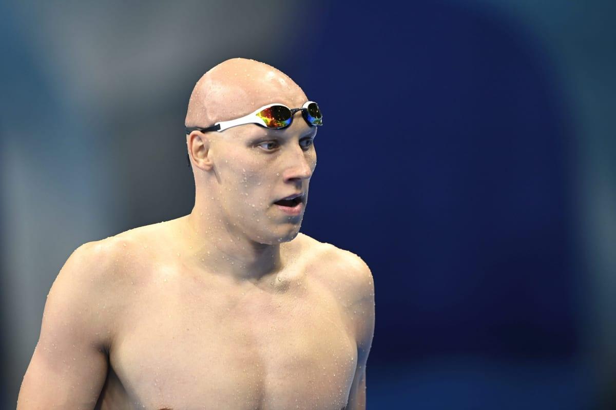 Matti Mattsson 200 metrin rintauinnin alkuerän jälkeen.