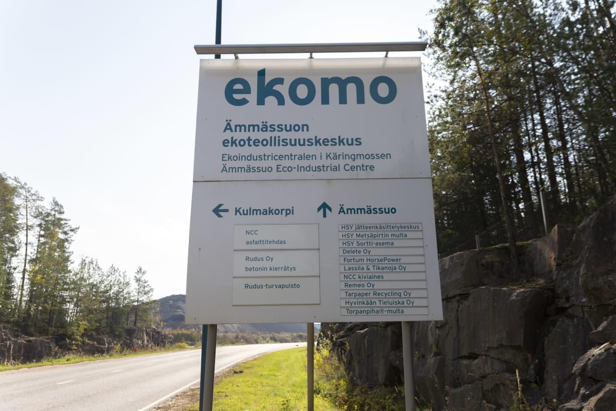 Ekomon, Ämmässuon ekoteollisuuskeskuksen kyltti sinne johtavan tien varressa