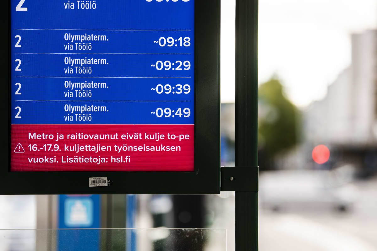 Metro- ja raitiovaunukuskit ovat lakossa 16.-17. syyskuuta.