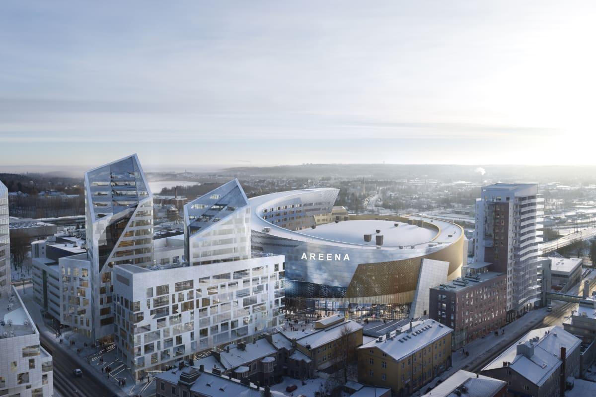 Tampereen Kannen areena talvella