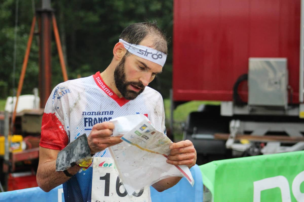 France's Thierry Gueorgiou competes during the men's long distance race at the World Orienteering Championships 2016, in Stroemstad, Sweden, 25 August 2016.