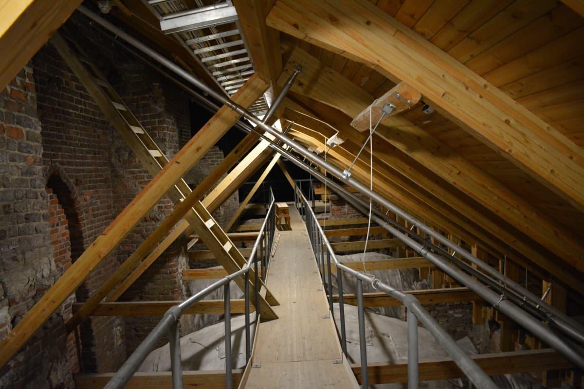 Turun tuomiokirkon ullakolla näkyvät alla olevien kuorien kattojen muodot.