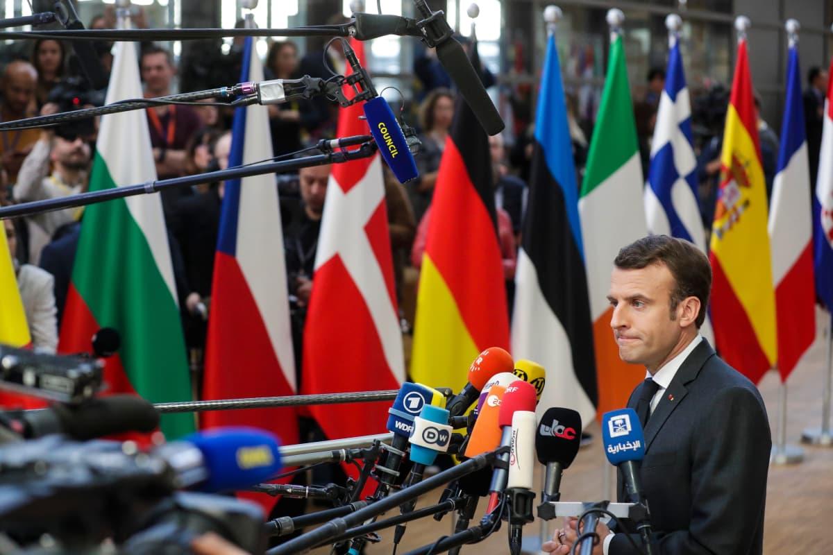 Ranskan presidentti Emmanuel Macron osallistui EU:n huippukokoukseen Brysselissä.