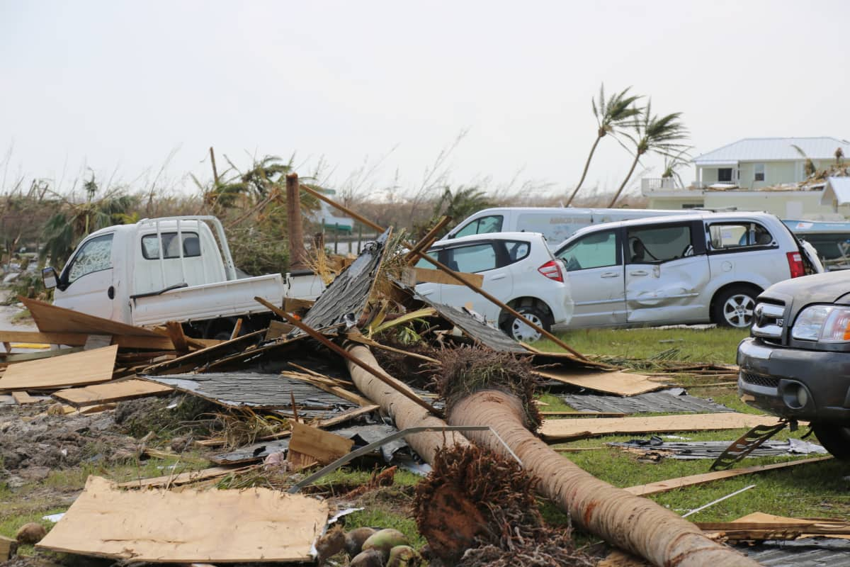 Treasure Cayssa Abaco-saarilla Dorian-hurrikaani repi puita juurineen.