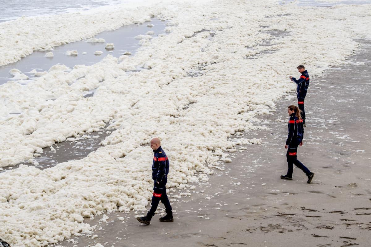 Alankomaiden puolustuministeriön sukeltajia etsimässä viidennen surffarin ruumista Scheveningenissä 14. toukokuuta.