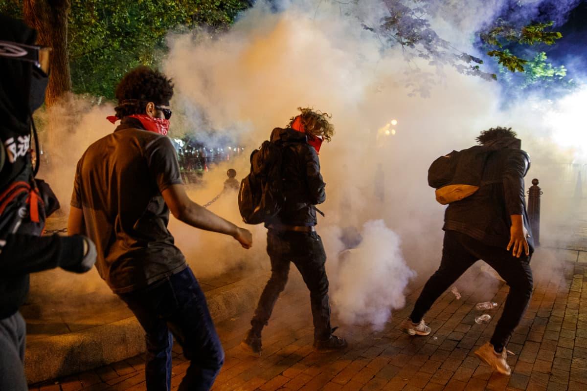 Mielenosoittajia kaasupilven keskellä kadulla