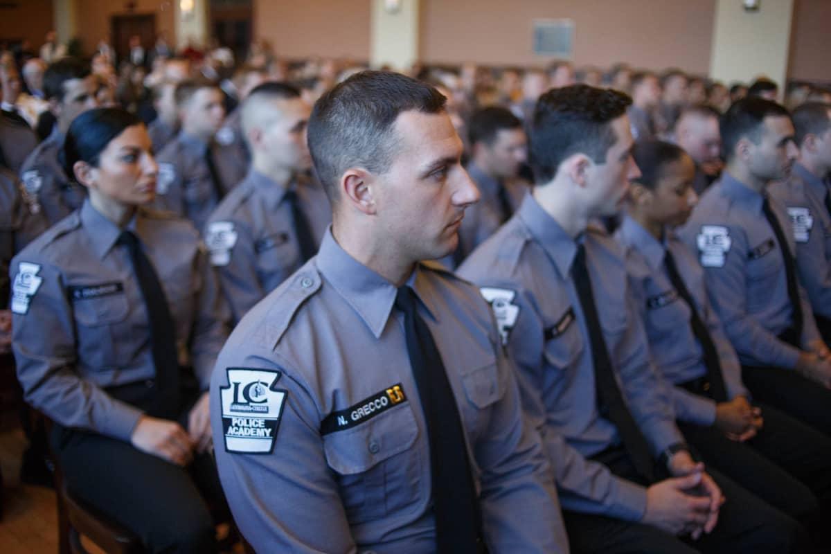 Poliisioppilaita Lackawannan yliopiston poliisiopistossa Pennsylvanian Scrantonissa.