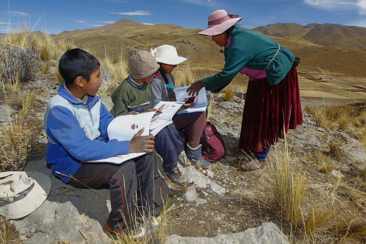 Raymunda Charca auttaa hänen lapsiaan sillä välin kun he hakevat signaalia, jotta he pääsisivät osallistumaan puhelimen välityksellä etäopetukseen Perun andeilla.