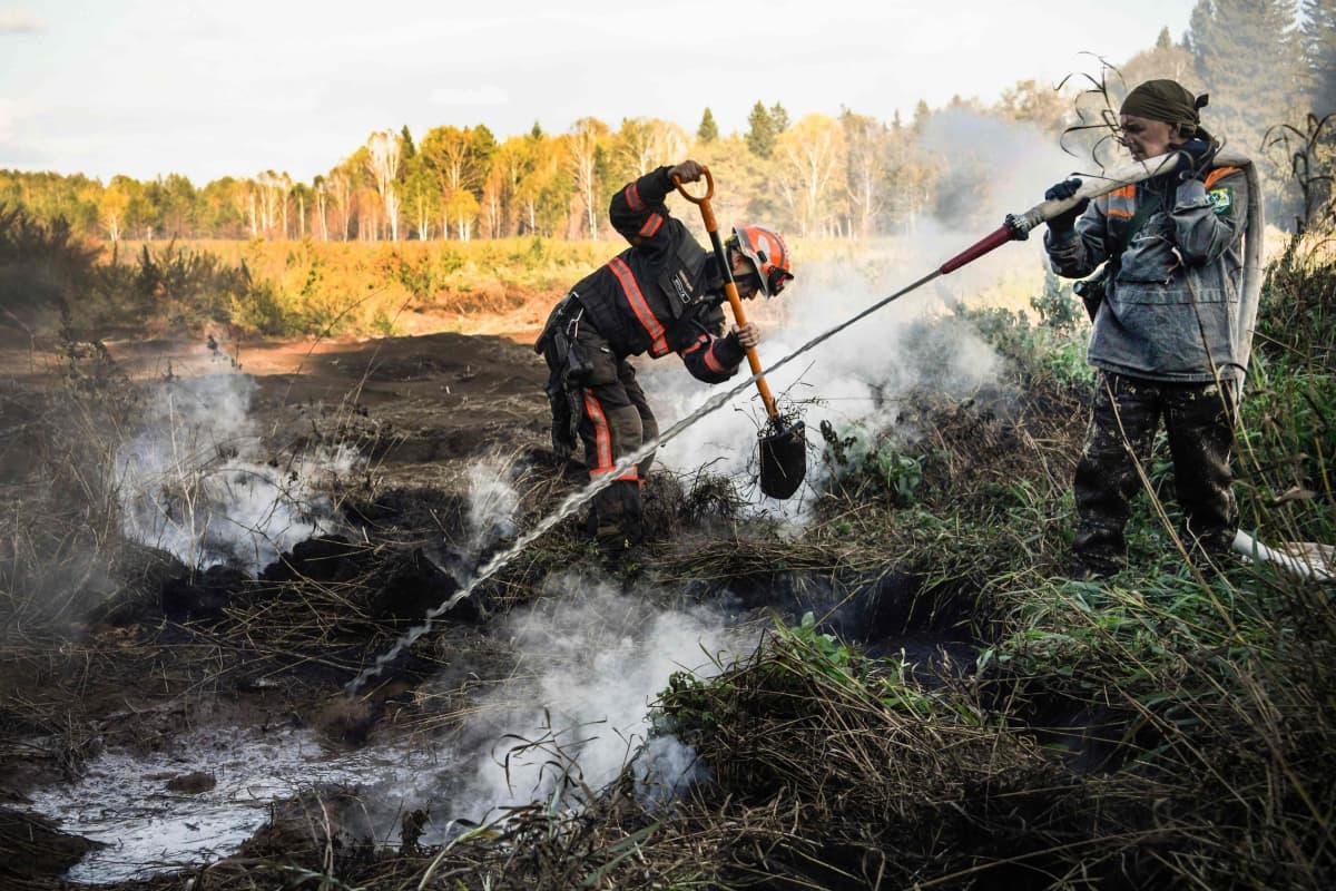 Kuvassa sammutetaan metsäpaloa Siperiassa.