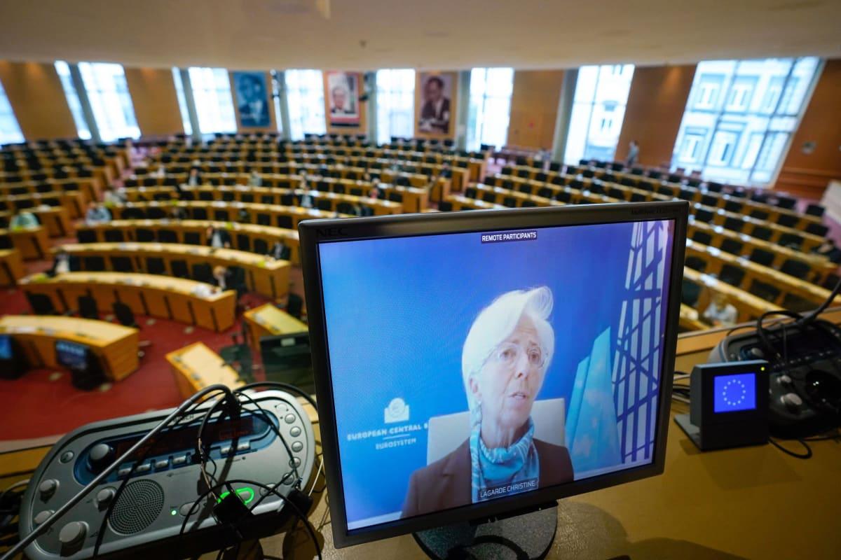 Christine Lagarde näytöllä