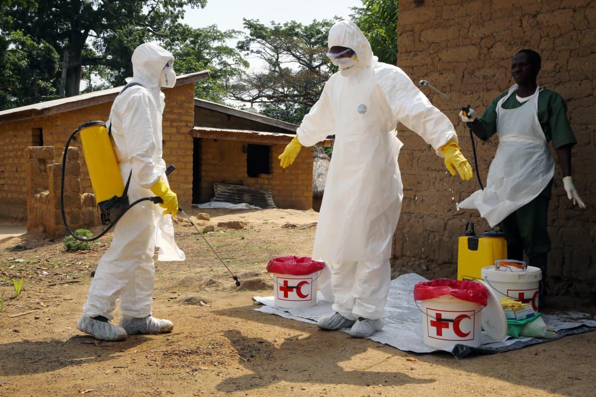 Ebolaan kuolleiden ruumiita kuljettaneita vapaaehtoistyöntekijöitä puhdistettiin kloorilla Koangossa, Guineassa huhtikuussa 2014.