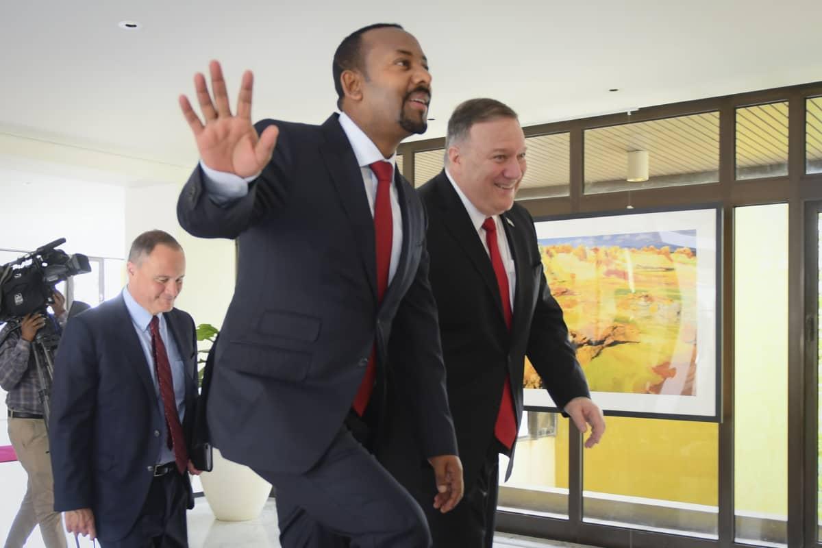 Etiopian pääministeri Abiy Ahmed ja Yhdysvaltain ulkoministeri Mike Pompeo