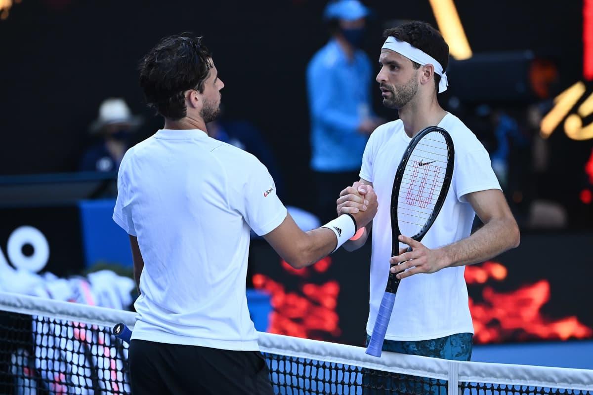Dominic Thiem ja Grigor Dimitrova Australian avoimessa tennisturnauksessa 2021.
