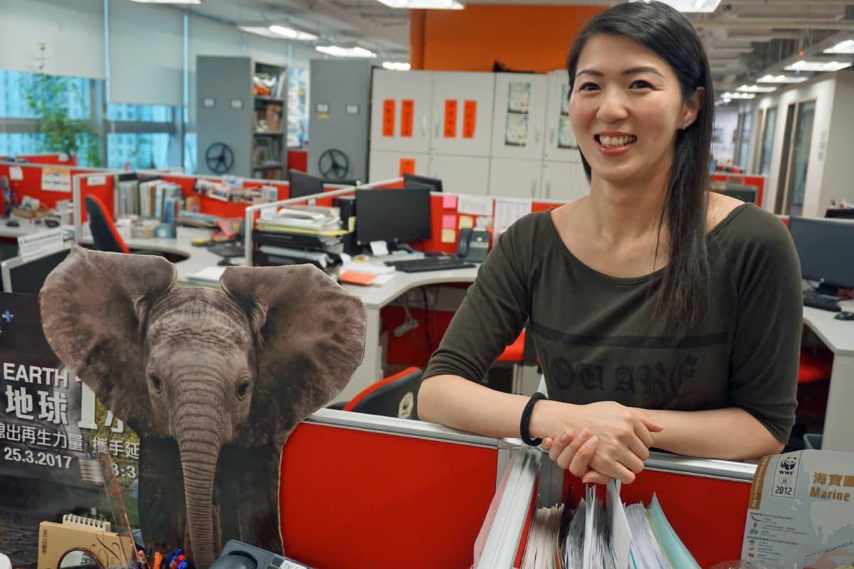 Hongkongin WWFn Cheryl Lo kehuu Manner-Kiinan päätöstä lopettaa norsunluukauppa vuoden loppuun mennessä.