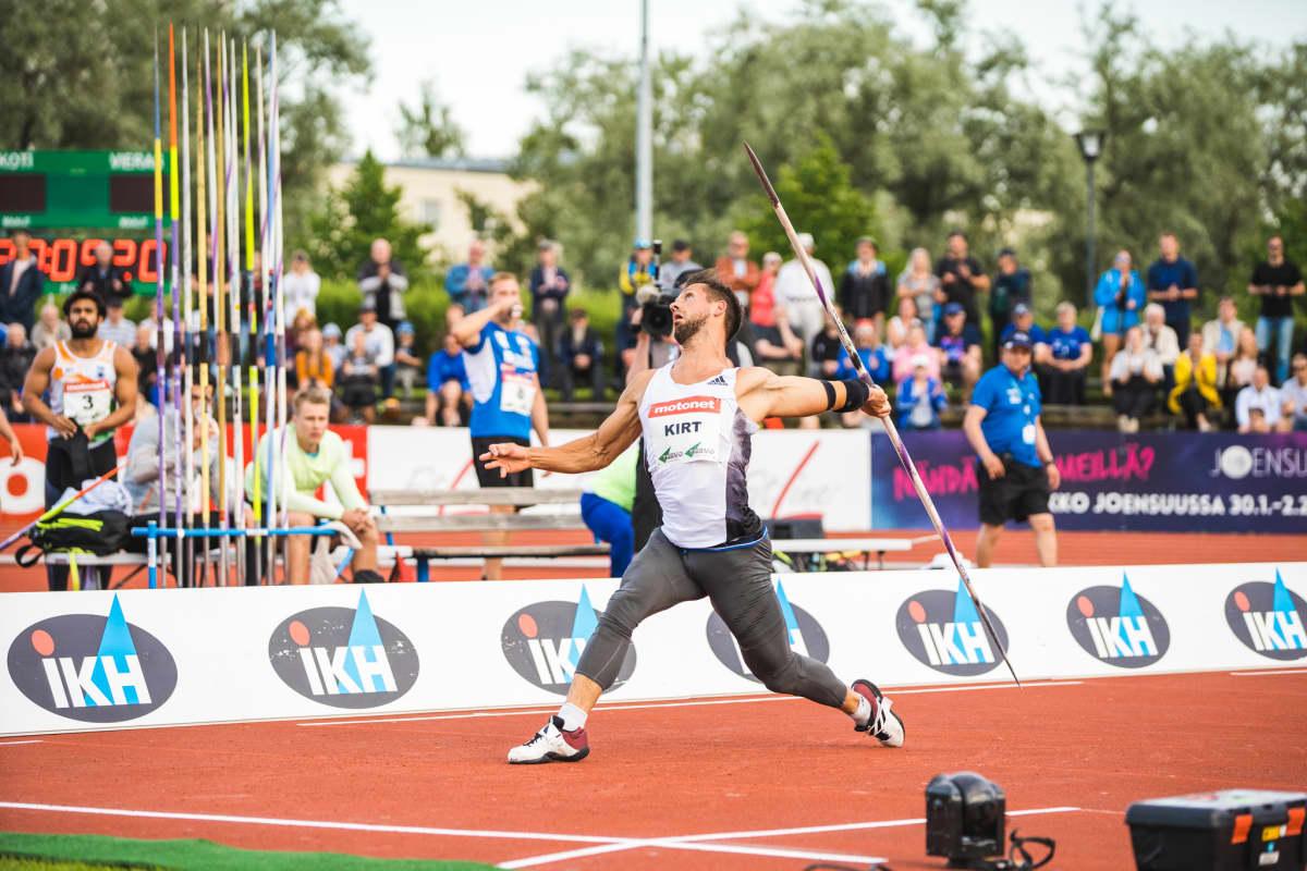 Magnus Kirt heitti Suomessa neljä kilpailua vuonna 2019. Vantaalla tulos oli 89,33, Turussa 88,32, Kuortaneella 90,61 (ennätys) ja Joensuussa (kuvassa) 87,35.