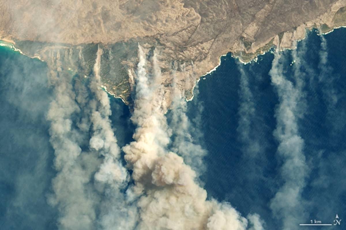 Avaruudesta otettu valokuva, jossa näkyy maasta kohoavia savupatsaita.