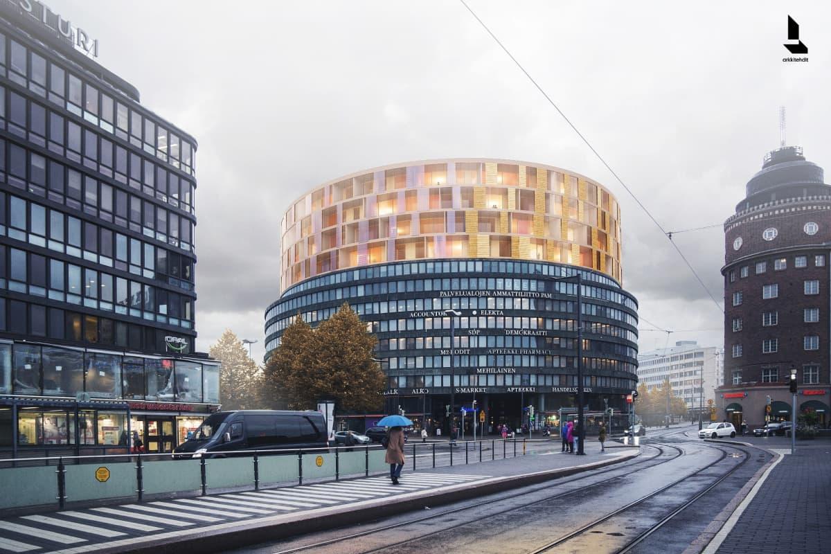 Havainnekuva puisista lisäkerroksista Ympyrätalon päällä Helsingin Hakaniemessä.