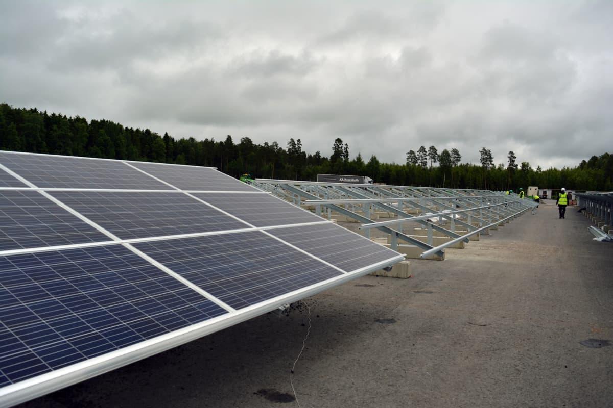 Aurinkopaneeleja Atrian Nurmon tehtaan aurinkosähköpuistossa.